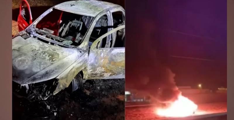 Vítima de sequestro relâmpago foi salva de carro em chamas, no MS