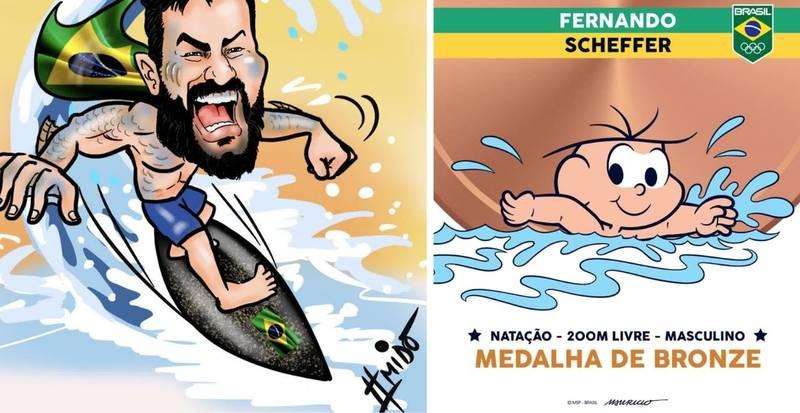 Cartunistas homenageiam medalhistas olímpicos do Brasil